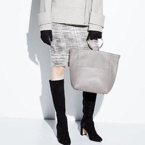 Max Studio Tweed Pencil Skirt Cream Size Large